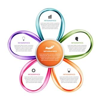 Opcje infografiki szablon z kwiatem.