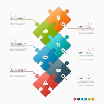 Opcje infographic szablon z części układanki