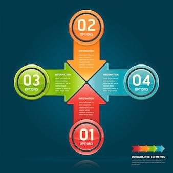 Opcje kolorowe strzałki koło układu przepływu pracy, schemat, plansza