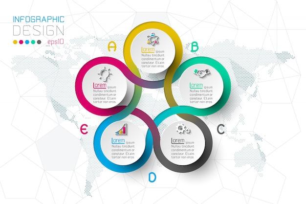 Opcje krok biznesowy i abstrakcyjne infografiki.