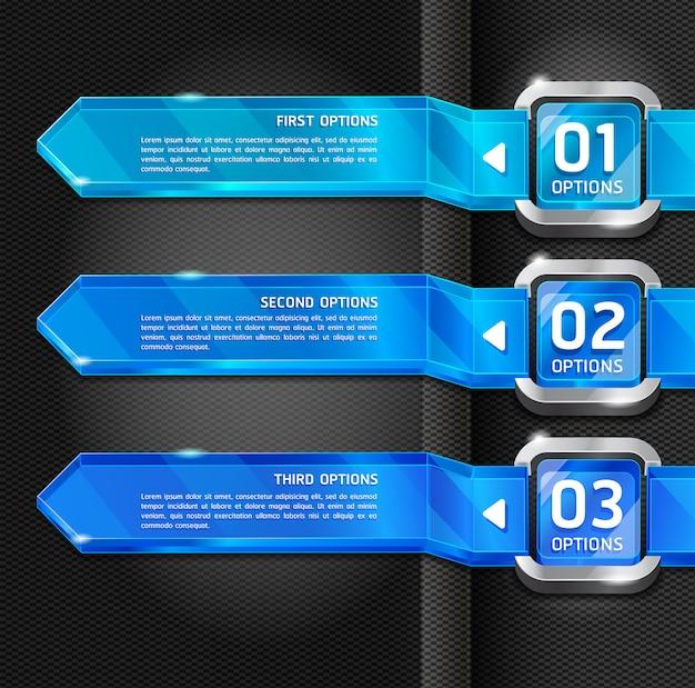 Opcje niebieskie przyciski stylu strony internetowej banner i tło karty.