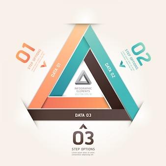 Opcje numeru stylu origami nowoczesnego nieskończonego trójkąta. układ przepływu pracy, schemat, opcje kroku, projektowanie stron internetowych, infografiki.
