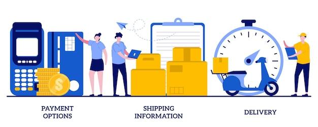 Opcje płatności, informacje o wysyłce, koncepcja dostawy z małymi ludźmi. zestaw zakupów online. zakup w sklepie internetowym i płatność, metafora wysyłki zamówienia.