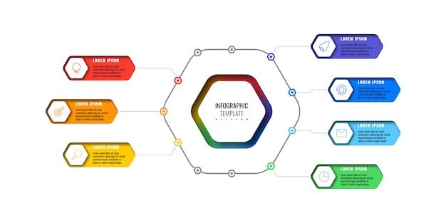 Opcje projektowania układu plansza szablon z siedmioma sześciokątnymi elementami. schemat procesu biznesowego