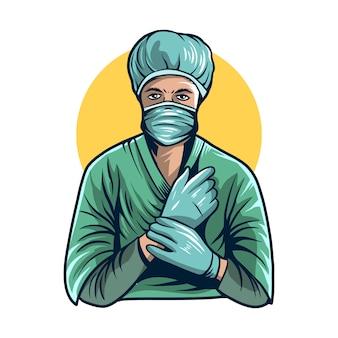 Operacja kostiumu lekarki ilustracyjny odosobniony projekt