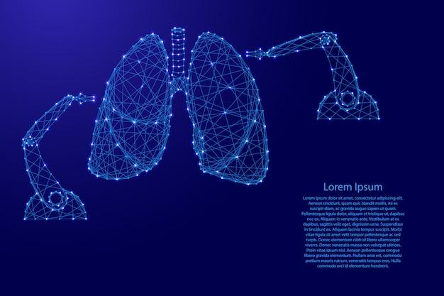 Operacja medyczna na płucach człowieka za pomocą robota manipulatora nowoczesnymi innowacyjnymi futurystycznymi wielokątnymi niebieskimi liniami i świecącymi gwiazdami na baner, plakat, kartkę z życzeniami. ilustracja.