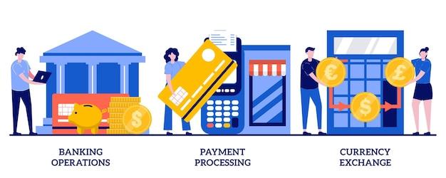 Operacje bankowe, przetwarzanie płatności, koncepcja wymiany walut z małymi ludźmi. zestaw ilustracji streszczenie usług finansowych. sprawdź konto, zarządzaj depozytem, brokerem forex, gotówką.