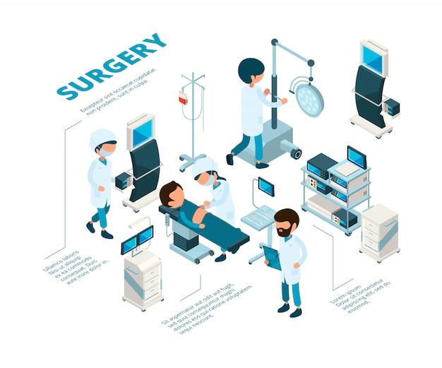 Operacje izometryczne. chirurdzy personelu medycznego wykonują procedury terapii awaryjnej lekarze w pokoju opieki zdrowotnej, czyniąc operację cierpliwą