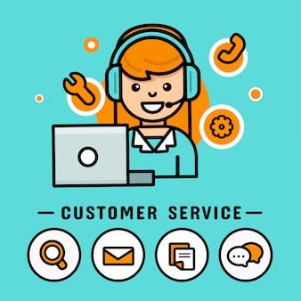 Operator kobiety ze słuchawkami. centrum telefoniczne