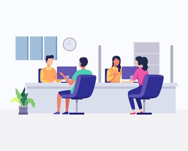 Operatorzy infolinii ze słuchawkami w biurze z klientami. obsługa klienta, agencja telemarketingowa, konsultacje i pomoc. w stylu płaskiej