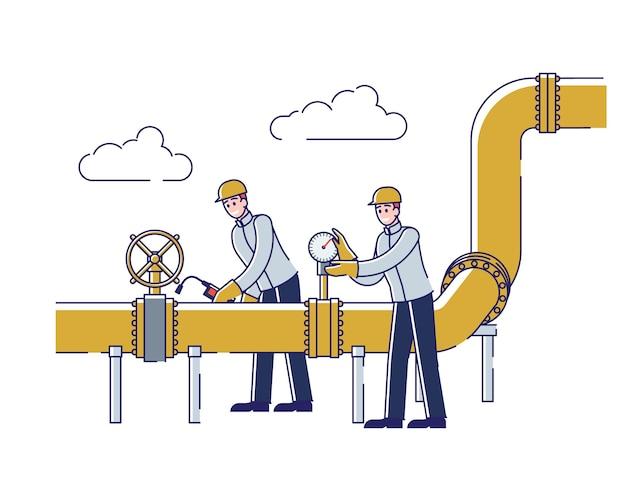 Operatorzy monitorujący i kontrolujący gaz