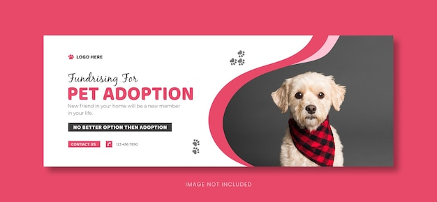 Opieka dla zwierząt domowych szablon okładki mediów społecznościowych lub projekt banera na facebooku dla zwierząt domowych.