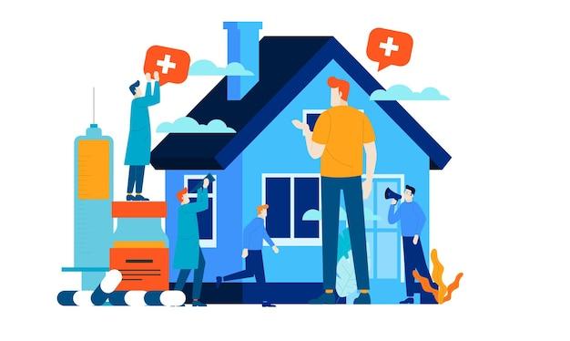 Opieka domowa medyczne mini ludzie mieszkanie