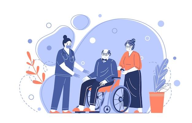 Opieka medyczna dla osób starszych. pielęgniarka pomaga dziadkowi na wózku inwalidzkim. opieka nad emerytami. ilustracja wektorowa w stylu płaski