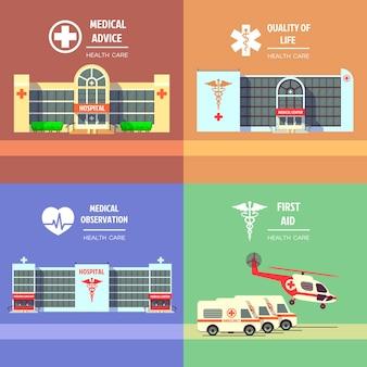 Opieka medyczna i opieka zdrowotna wektor koncepcja tła zestaw. szpital medyczny, opieka medyczna, ilustracja ratownictwa medycznego zdrowia