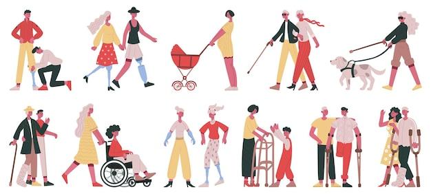 Opieka nad niepełnosprawnymi postaciami. osoby niepełnosprawne otrzymują wolontariuszy, przyjaciela i rodzinę, pomoc i opiekę wektor zestaw ilustracji. osoby niesłyszące, niewidome i niepełnosprawne. rodzina i przyjaciele niepełnosprawni