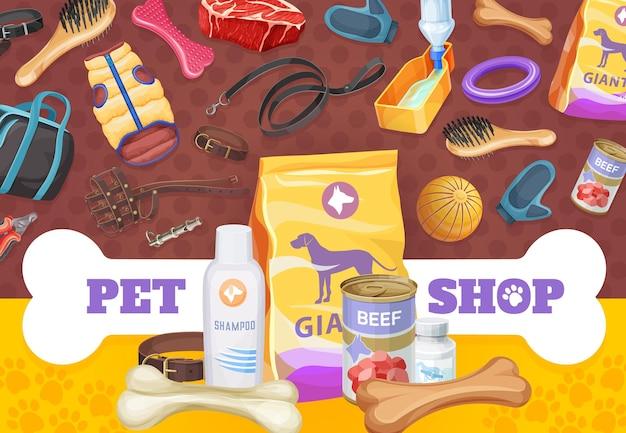 Opieka nad psem, zabawki i plakat żywności, reklama wektorowa towarów promocyjnych dla zwierząt. sklep zoo zawiera suchą paczkę karmy i wołowinę w puszce, obrożę, kości i przekąskę z ubraniami i piłką. smycz, miska do picia i obcinacz pazurów