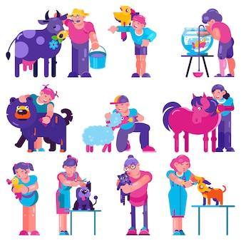 Opieka nad zwierzętami wektorowi ludzie szczotkuje karmienie psa szczeniaka ilustrację mężczyzna kobieta