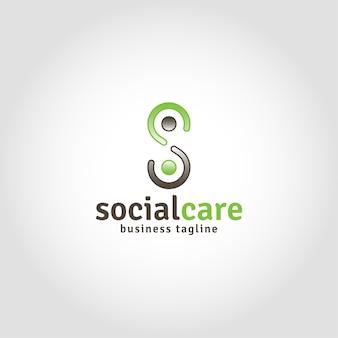 Opieka społeczna to logo ludzkości z literą s koncepcji
