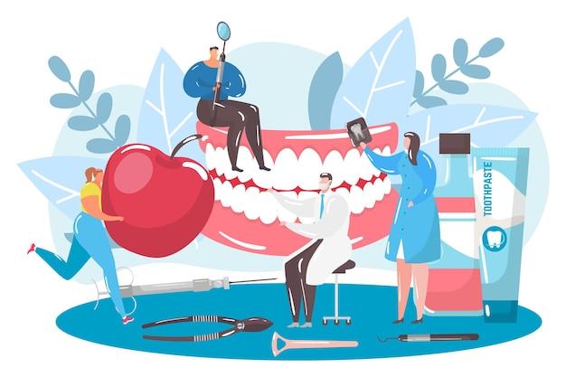 Opieka stomatologiczna dla zębów, ilustracji wektorowych, charakter płaski mały lekarz w koncepcji leczenia opieki zdrowotnej, dentysta używać sprzętu medycznego.
