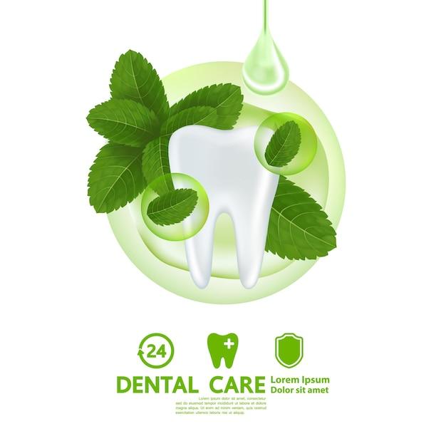 Opieka stomatologiczna z ilustracją liści mięty pieprzowej