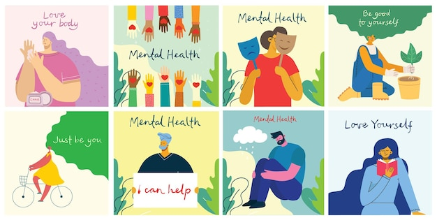Opieka zdrowia psychicznego leczenie wektor ilustracja koncepcja. lekarz specjalista pracuje nad terapią psychologiczną. małych ludzi postać z projektem drabiny. baner, plakat lub druk społecznościowy w mediach.
