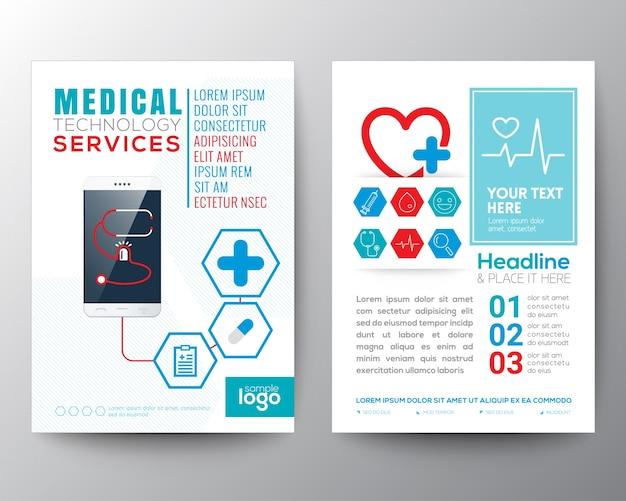 Opieka zdrowotna i medyczna plakat broszura ulotka szablon