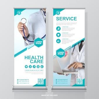 Opieka zdrowotna i medyczna projekt roll upów i szablon banera standee na wystawę