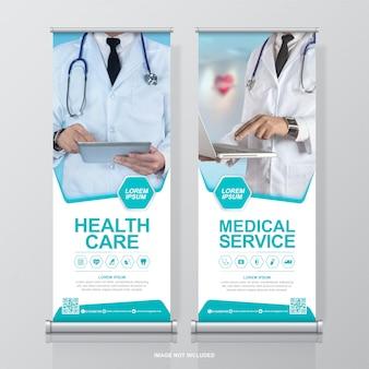 Opieka zdrowotna i medyczna roll up i standee dekoracja szablonu projektu banera na wystawę