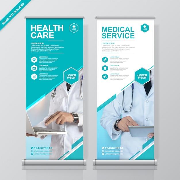 Opieka zdrowotna i medyczna roll up i standee