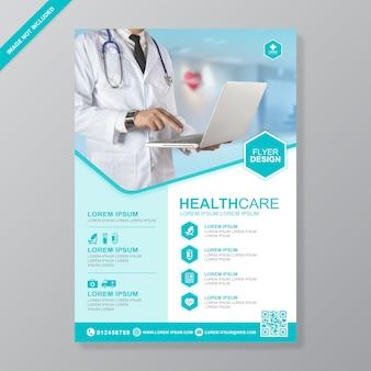 Opieka zdrowotna i ochrona medyczna szablon projektu ulotki a4