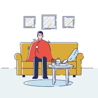 Opieka zdrowotna i pojęcie przeziębienia. młody mężczyzna siedzi w domu zawinięty w koc z objawami grypy i. kreskówka kontur liniowy płaski.