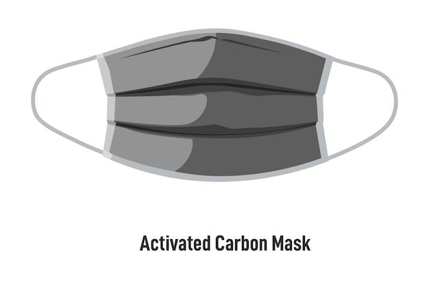 Opieka zdrowotna i zachowanie zdrowia podczas wybuchu pandemii i koronawirusa. maska z węglem aktywnym z paskami. izolowana osłona twarzy z oddychającego materiału. środki ochronne, wektor w stylu płaskim