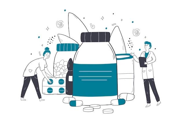 Opieka zdrowotna, kasy lekarskie, ilustracja koncepcja apteki