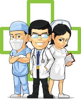 Opieka zdrowotna lub personel medyczny - lekarz, pielęgniarka i chirurg