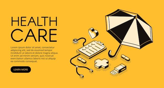 Opieka zdrowotna medyczna ilustracja dla kliniki lub szpitala usługa.