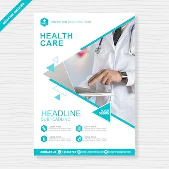 Opieka zdrowotna obejmuje szablon projektu a4 ulotki
