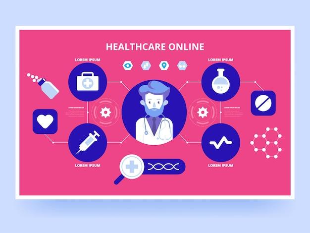 Opieka zdrowotna online. usługi medyczne. internetowy dostawca mobilnej opieki zdrowotnej.