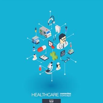 Opieka zdrowotna, zintegrowane ikony internetowe. koncepcja interakcji izometrycznej sieci cyfrowej. połączony graficzny system kropkowo-liniowy. streszczenie tło dla medycyny i usług medycznych. infograf