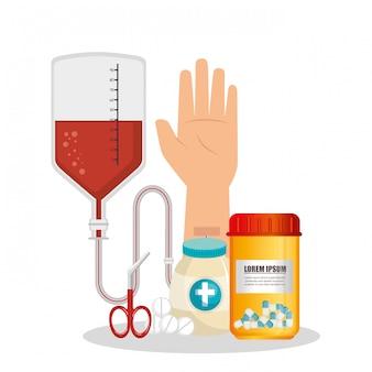 Opieki medycznej z zestaw ikon