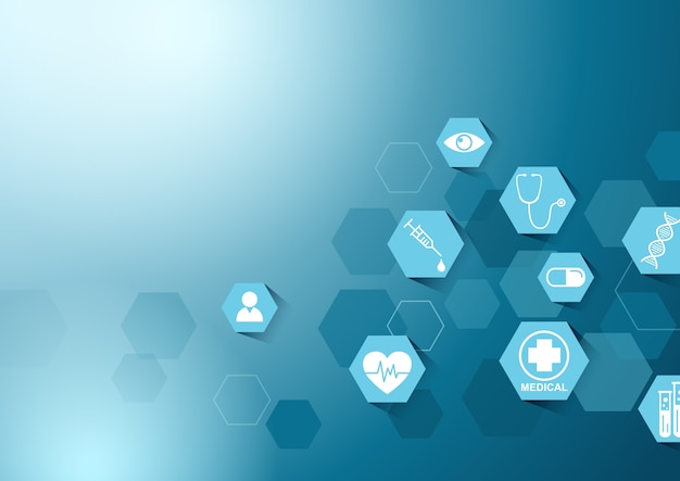 Opieki zdrowotnej i nauki ikona wzór ilustracja innowacji medycznych