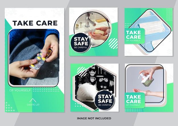 Opieki zdrowotnej kolekcja mediów społecznościowych szablon post i opowiadania