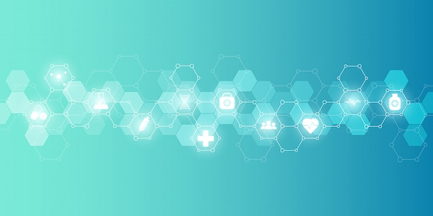 Opieki zdrowotnej medyczny i nauki tło z ikonami i symbolami. technologia innowacji.