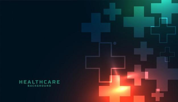 Opieki zdrowotnej nauki medyczne tło z plus symbolem