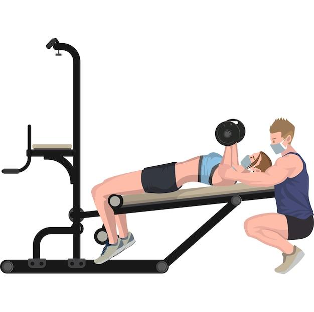 Opiekun na siłowni uczy swojego członka siłowni, jak ustawić sztangę