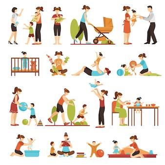 Opiekunka do dziecka płaski set dekoracyjne barwione ikony