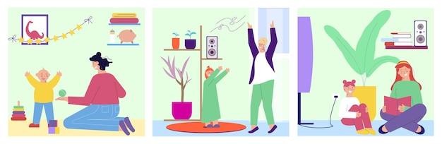 Opiekunka zestaw trzech kwadratowych kompozycji z płaskimi postaciami niani bawiącej się z dzieckiem w domu