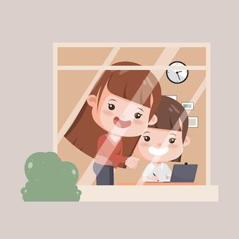 Opiekunowie rodzinni pomagający dzieciom uczyć się w domu. matka z córką w szkole online.