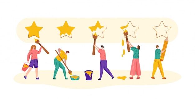 Opinia klienta lub koncepcja przeglądu, płaskie nowoczesne małe osoby ze szczotkami malujące wielkie gwiazdy