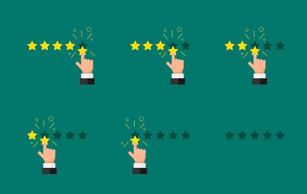Opinia o reputacji jakości zestaw koncepcji recenzji klienta. biznesmen palcem wskazującym pięć cztery trzy dwa jeden zero złotych gwiazdek. płaska ilustracja wektorowa satysfakcji na zielonym tle